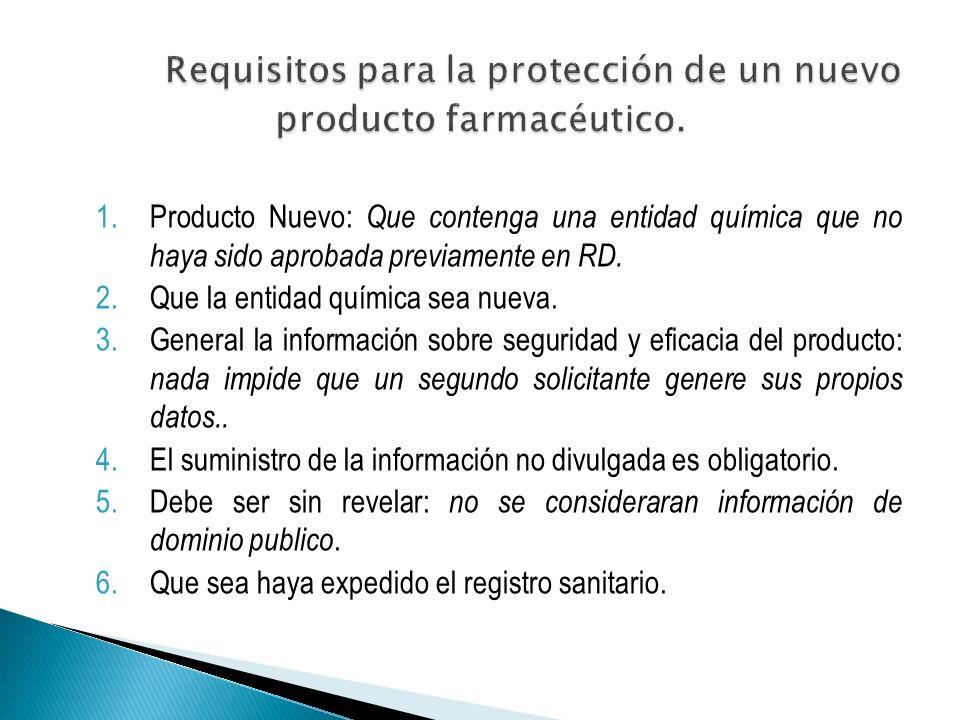 1.Producto Nuevo: Que contenga una entidad química que no haya sido aprobada previamente en RD.