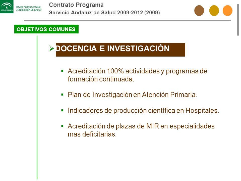 Contrato Programa Servicio Andaluz de Salud 2009-2012 (2009) OBJETIVOS COMUNES DOCENCIA E INVESTIGACIÓN Acreditación 100% actividades y programas de f