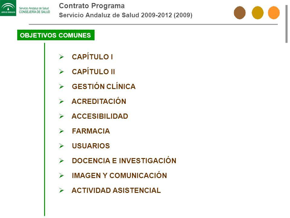 Contrato Programa Servicio Andaluz de Salud 2009-2012 (2009) OBJETIVOS COMUNES CAPÍTULO I CAPÍTULO II GESTIÓN CLÍNICA ACREDITACIÓN ACCESIBILIDAD FARMA