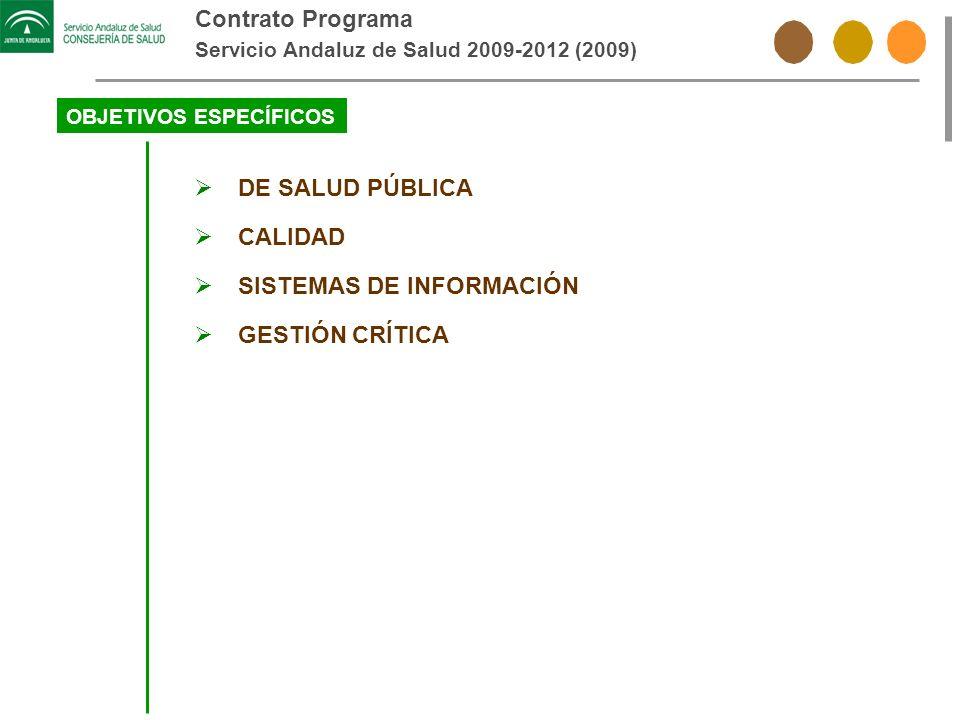 Contrato Programa Servicio Andaluz de Salud 2009-2012 (2009) OBJETIVOS ESPECÍFICOS DE SALUD PÚBLICA CALIDAD SISTEMAS DE INFORMACIÓN GESTIÓN CRÍTICA