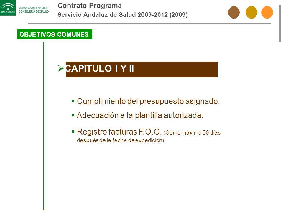 Contrato Programa Servicio Andaluz de Salud 2009-2012 (2009) OBJETIVOS COMUNES CAPITULO I Y II Cumplimiento del presupuesto asignado. Adecuación a la