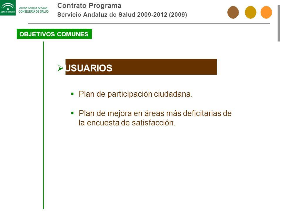 Contrato Programa Servicio Andaluz de Salud 2009-2012 (2009) OBJETIVOS COMUNES USUARIOS Plan de participación ciudadana. Plan de mejora en áreas más d