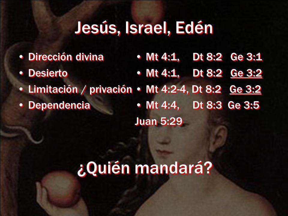 Jesús, Israel, Edén Dirección divina Desierto Limitación / privación Dependencia Dirección divina Desierto Limitación / privación Dependencia Mt 4:1,