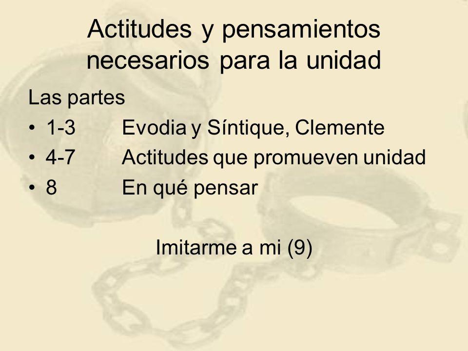 Actitudes y pensamientos necesarios para la unidad Las partes 1-3Evodia y Síntique, Clemente 4-7Actitudes que promueven unidad 8En qué pensar Imitarme