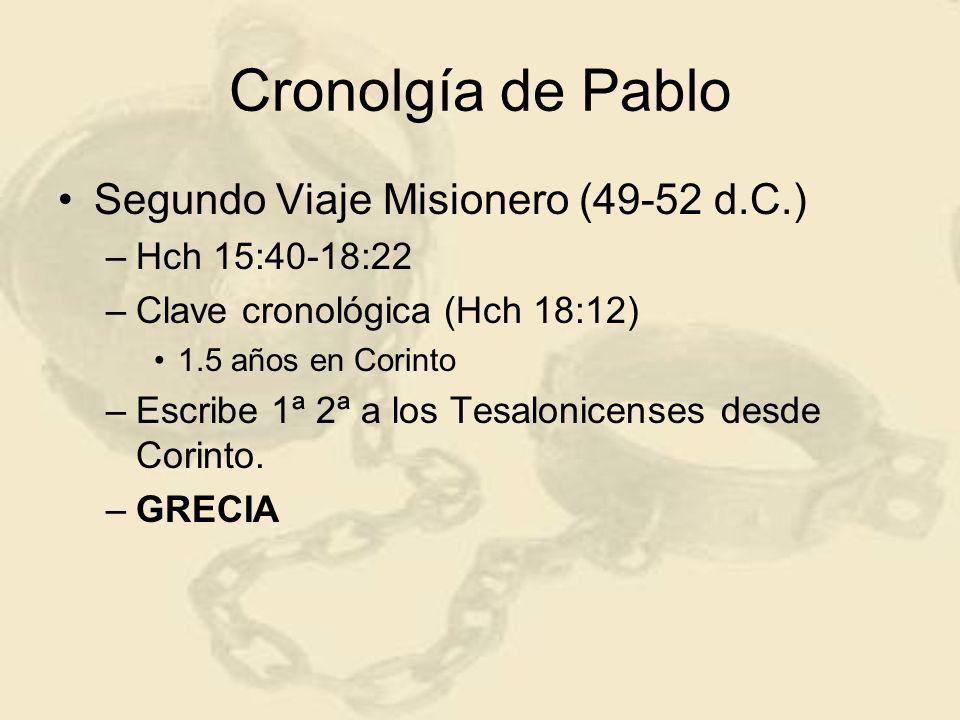 Cronolgía de Pablo Segundo Viaje Misionero (49-52 d.C.) –Hch 15:40-18:22 –Clave cronológica (Hch 18:12) 1.5 años en Corinto –Escribe 1ª 2ª a los Tesal