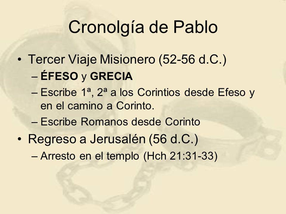 Cronolgía de Pablo Tercer Viaje Misionero (52-56 d.C.) –ÉFESO y GRECIA –Escribe 1ª, 2ª a los Corintios desde Efeso y en el camino a Corinto. –Escribe