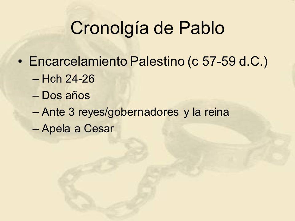 Cronolgía de Pablo Encarcelamiento Palestino (c 57-59 d.C.) –Hch 24-26 –Dos años –Ante 3 reyes/gobernadores y la reina –Apela a Cesar