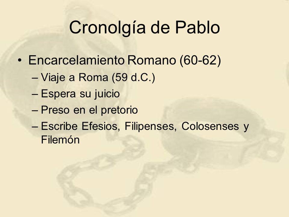 Cronolgía de Pablo Encarcelamiento Romano (60-62) –Viaje a Roma (59 d.C.) –Espera su juicio –Preso en el pretorio –Escribe Efesios, Filipenses, Colose