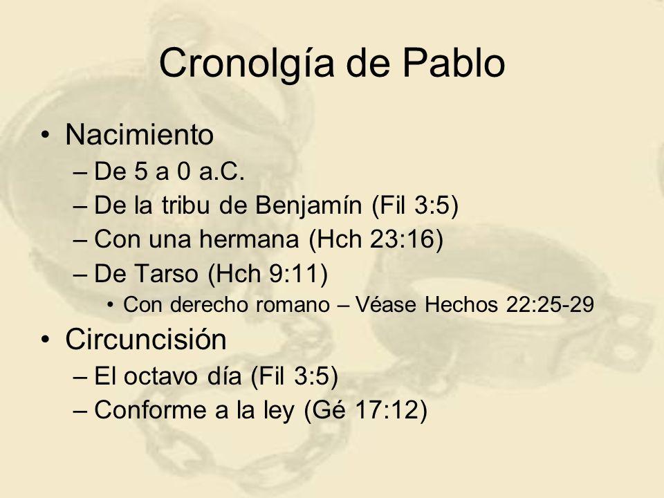 Cronolgía de Pablo Nacimiento –De 5 a 0 a.C. –De la tribu de Benjamín (Fil 3:5) –Con una hermana (Hch 23:16) –De Tarso (Hch 9:11) Con derecho romano –