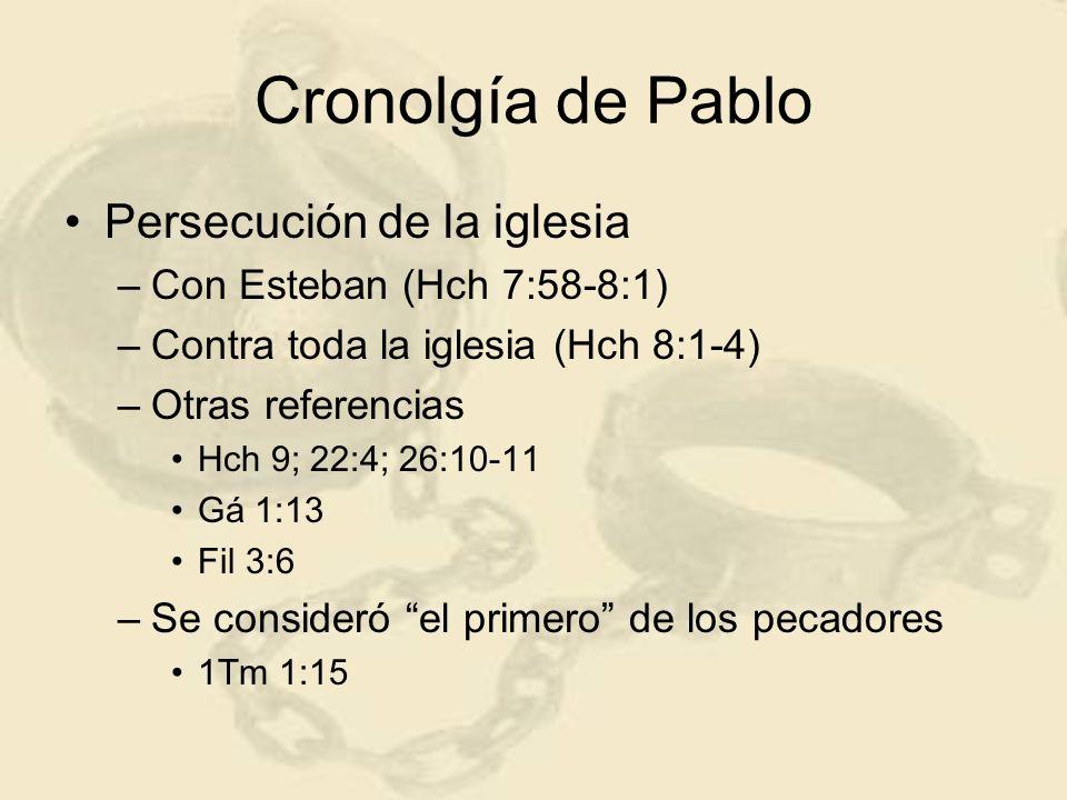 Cronolgía de Pablo Conversión (c 33/34 d.C.) –Camino a Damasco –Predicado por Ananías (Hch 9:10-17) –Comisionado (Hch 9:15) - Ananías –Bautismo (Hch 9:18) –Tiempo breve en Damasco (Hch 9:19) Primer ministerio –en seguida predicaba a Cristo (Hch 9:20) –Hch 9:21 no relata Gá 1:15-17 Tres años en Arabia y Damasco