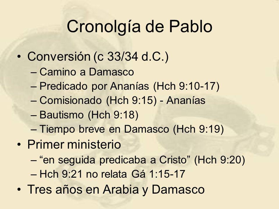 Cronolgía de Pablo Conversión (c 33/34 d.C.) –Camino a Damasco –Predicado por Ananías (Hch 9:10-17) –Comisionado (Hch 9:15) - Ananías –Bautismo (Hch 9