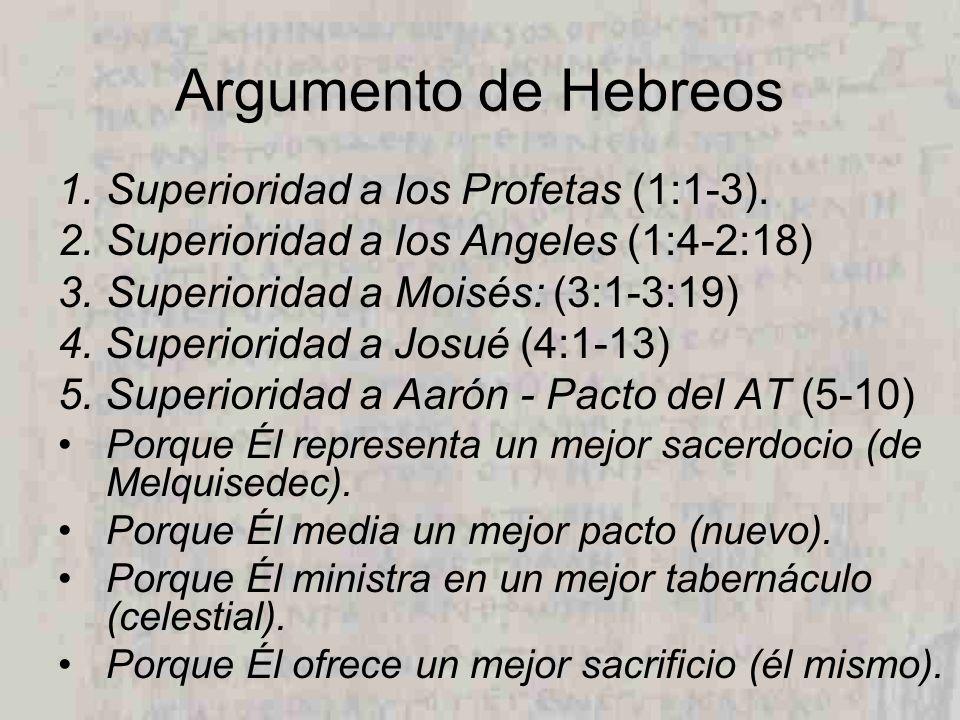 Argumento de Hebreos 1.Superioridad a los Profetas (1:1-3). 2.Superioridad a los Angeles (1:4-2:18) 3.Superioridad a Moisés: (3:1-3:19) 4. Superiorida