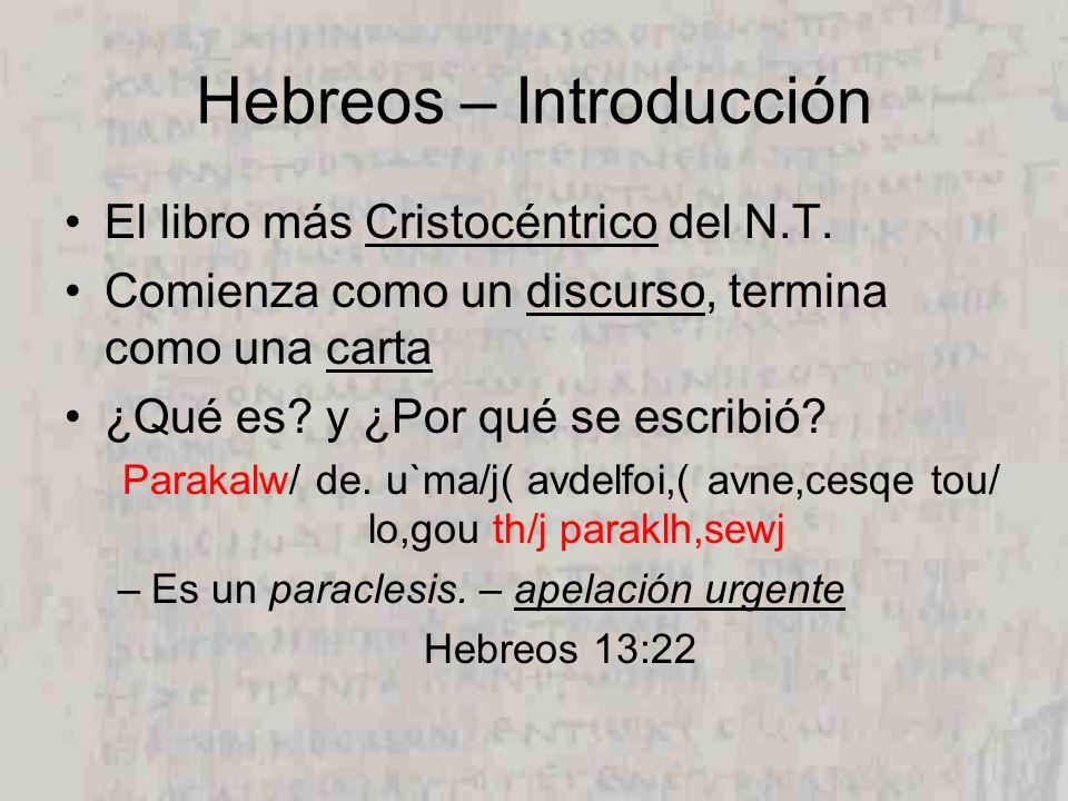 Hebreos – Introducción El libro más Cristocéntrico del N.T. Comienza como un discurso, termina como una carta ¿Qué es? y ¿Por qué se escribió? Parakal