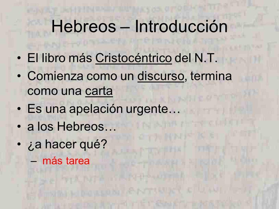 Hebreos – Introducción El libro más Cristocéntrico del N.T. Comienza como un discurso, termina como una carta Es una apelación urgente… a los Hebreos…