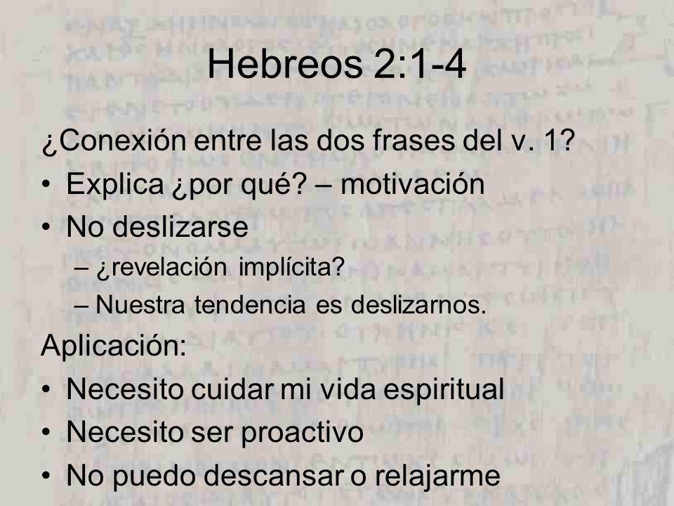 Hebreos 2:1-4 ¿Conexión entre las dos frases del v. 1? Explica ¿por qué? – motivación No deslizarse –¿revelación implícita? –Nuestra tendencia es desl
