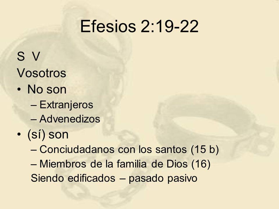 Efesios 2:19-22 S V Vosotros No son –Extranjeros –Advenedizos (sí) son –Conciudadanos con los santos (15 b) –Miembros de la familia de Dios (16) Siend