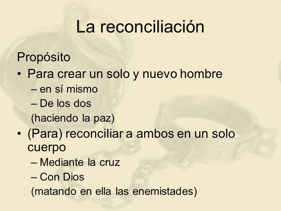 La reconciliación Propósito Para crear un solo y nuevo hombre –e–en sí mismo –D–De los dos (haciendo la paz) (Para) reconciliar a ambos en un solo cue