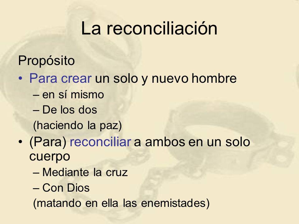 Propósito Para crear un solo y nuevo hombre –en sí mismo –De los dos (haciendo la paz) (Para) reconciliar a ambos en un solo cuerpo –Mediante la cruz
