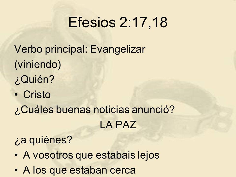 Efesios 2:17,18 Verbo principal: Evangelizar (viniendo) ¿Quién? Cristo ¿Cuáles buenas noticias anunció? LA PAZ ¿a quiénes? A vosotros que estabais lej