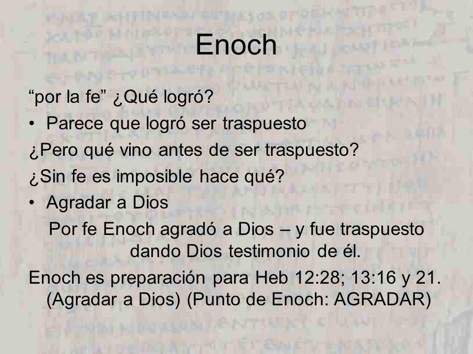 Enoch por la fe ¿Qué logró.Parece que logró ser traspuesto ¿Pero qué vino antes de ser traspuesto.