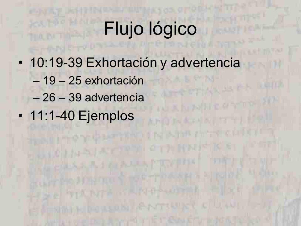 Flujo lógico 10:19-39 Exhortación y advertencia –19 – 25 exhortación –26 – 39 advertencia 11:1-40Ejemplos