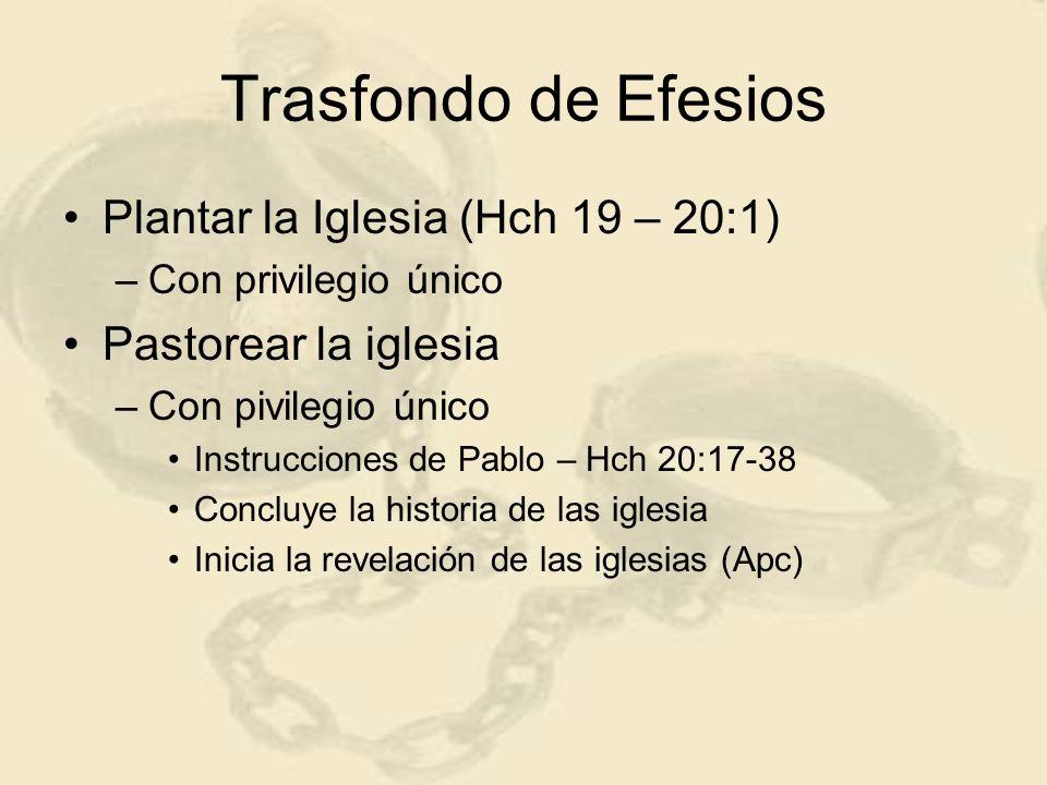 Trasfondo de Efesios Plantar la Iglesia (Hch 19 – 20:1) –Con privilegio único Pastorear la iglesia –Con pivilegio único Instrucciones de Pablo – Hch 2