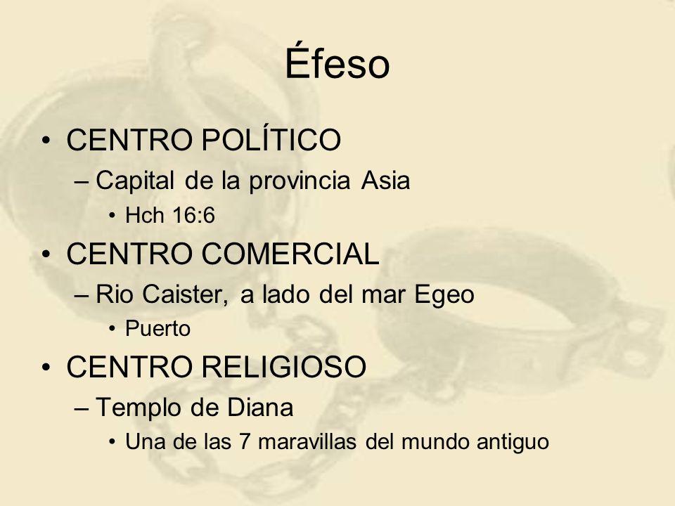 Éfeso CENTRO POLÍTICO –Capital de la provincia Asia Hch 16:6 CENTRO COMERCIAL –Rio Caister, a lado del mar Egeo Puerto CENTRO RELIGIOSO –Templo de Dia