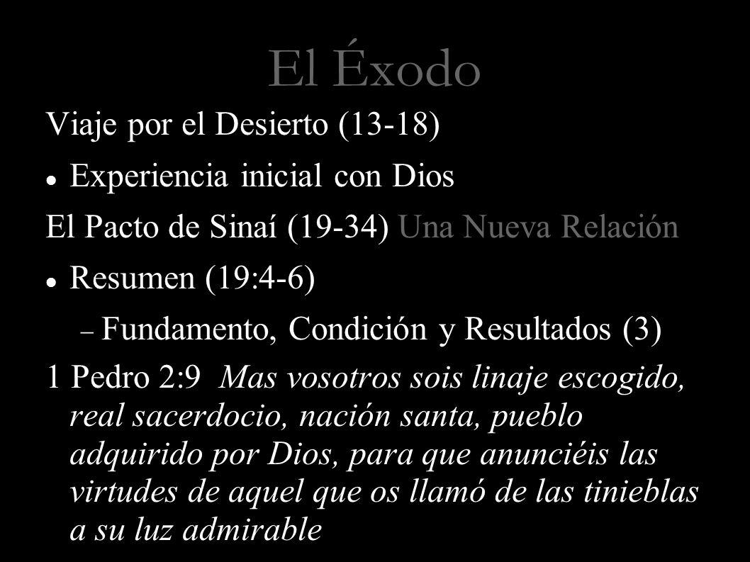 El Éxodo Viaje por el Desierto (13-18) Experiencia inicial con Dios El Pacto de Sinaí (19-34) Una Nueva Relación Resumen (19:4-6) Fundamento, Condició
