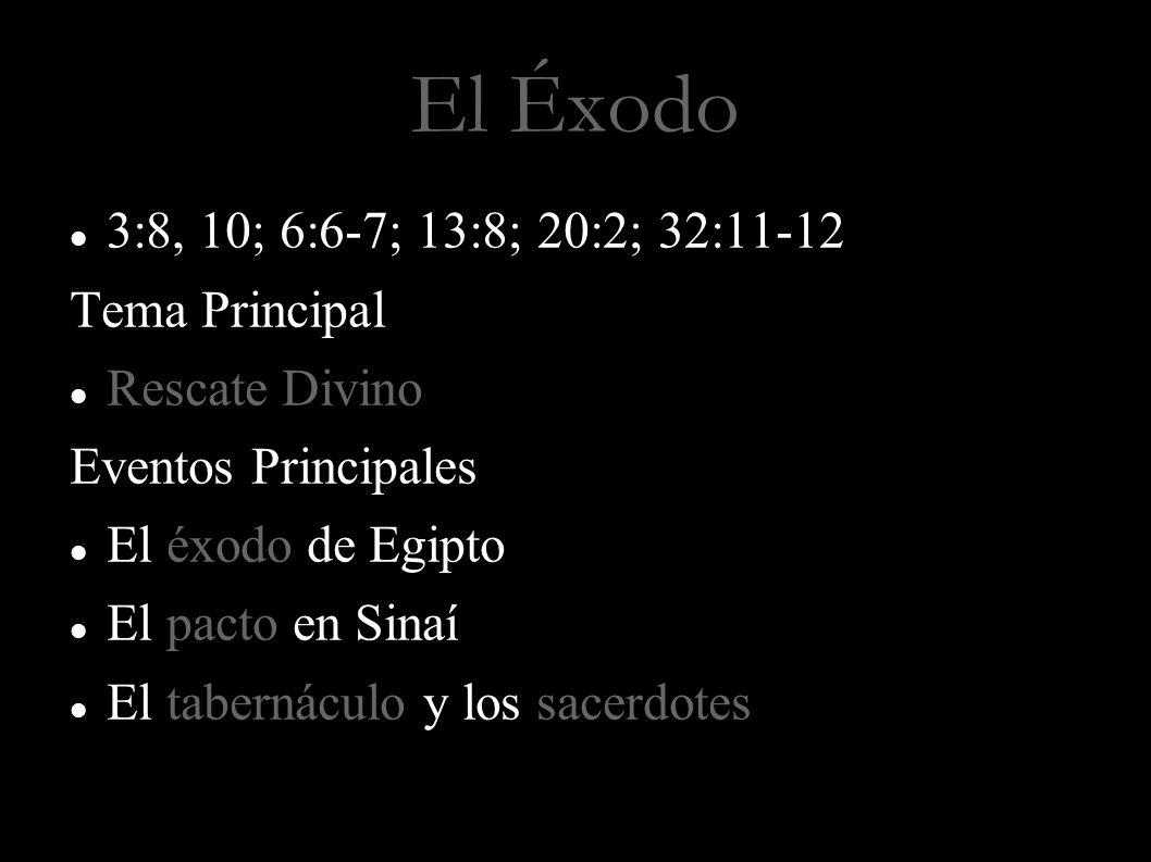 El Éxodo 3:8, 10; 6:6-7; 13:8; 20:2; 32:11-12 Tema Principal Rescate Divino Eventos Principales El éxodo de Egipto El pacto en Sinaí El tabernáculo y los sacerdotes Rescate Propósito