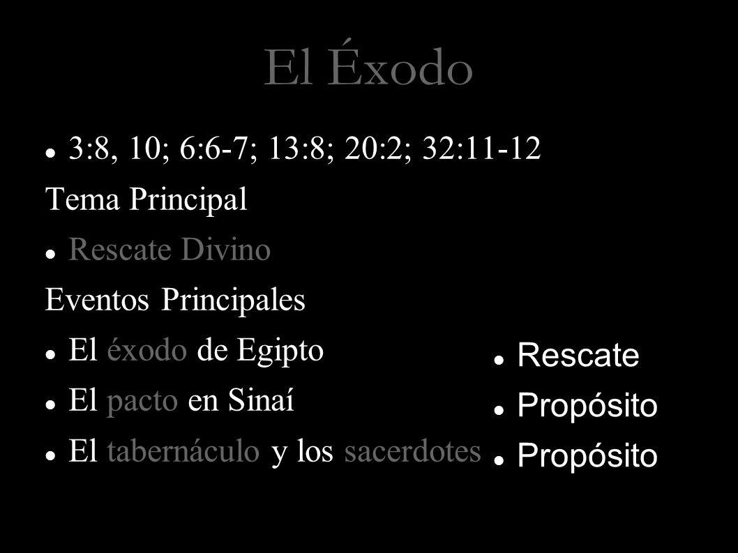 El Éxodo 3:8, 10; 6:6-7; 13:8; 20:2; 32:11-12 Tema Principal Rescate Divino Eventos Principales El éxodo de Egipto El pacto en Sinaí El tabernáculo y