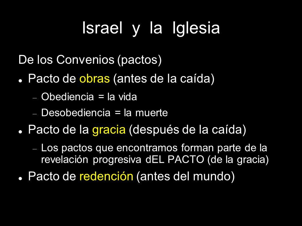 Israel y la Iglesia De los Convenios (pactos) Pacto de obras (antes de la caída) Obediencia = la vida Desobediencia = la muerte Pacto de la gracia (de