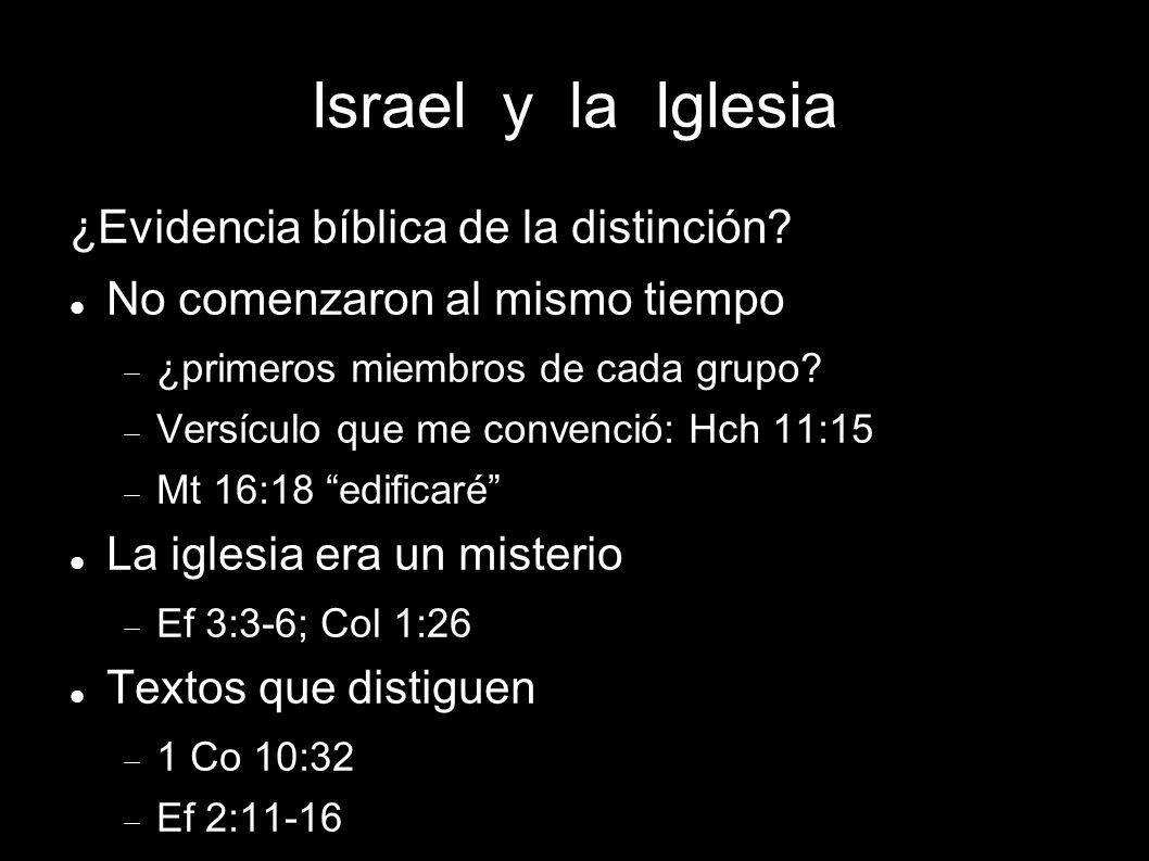 Israel y la Iglesia ¿Evidencia bíblica de la distinción? No comenzaron al mismo tiempo ¿primeros miembros de cada grupo? Versículo que me convenció: H