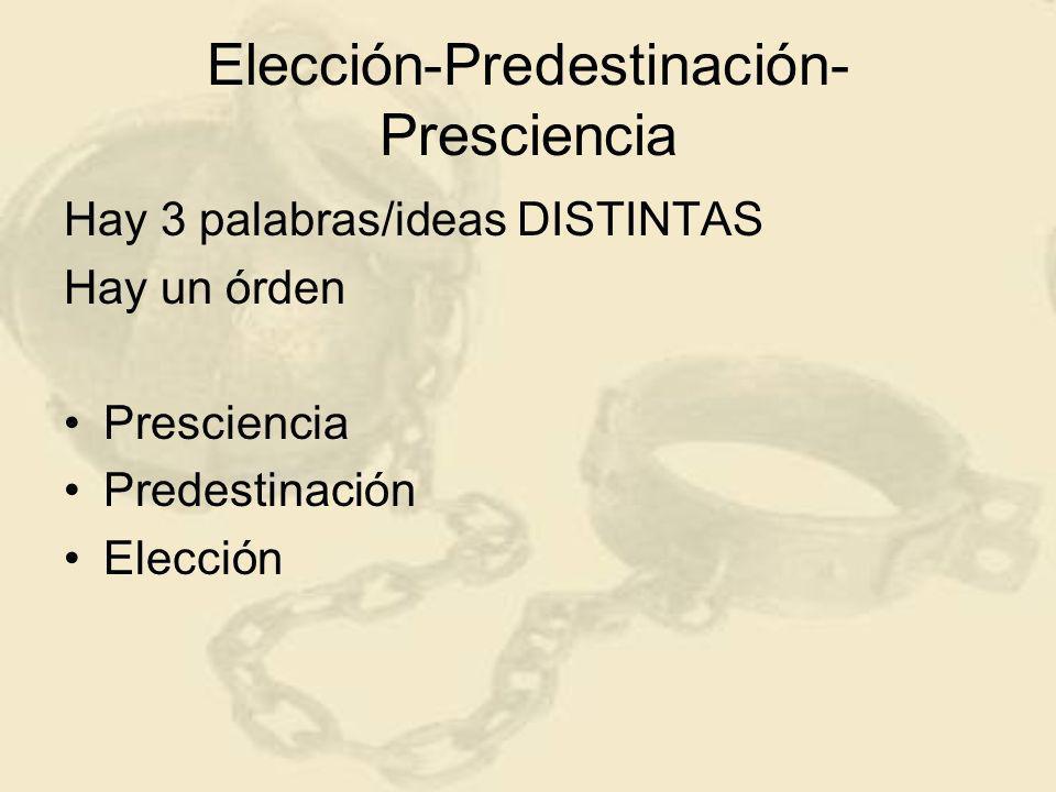 Elección-Predestinación- Presciencia Hay 3 palabras/ideas DISTINTAS Hay un órden Presciencia Predestinación Elección
