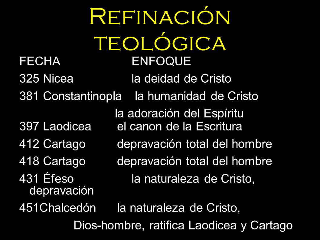 Refinación teológica FECHAENFOQUE 325 Niceala deidad de Cristo 381 Constantinopla la humanidad de Cristo la adoración del Espíritu 397 Laodiceael cano