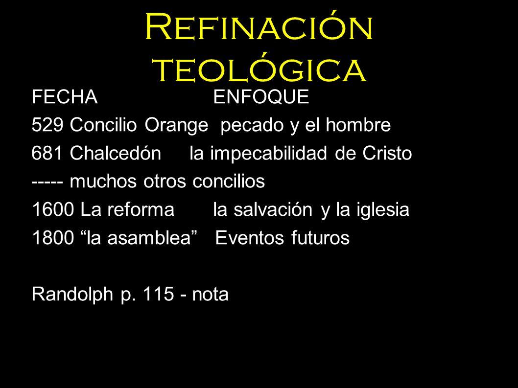 Refinación teológica FECHAENFOQUE 529 Concilio Orange pecado y el hombre 681 Chalcedónla impecabilidad de Cristo ----- muchos otros concilios 1600 La
