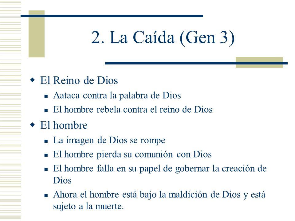 2. La Caída (Gen 3) El Reino de Dios Aataca contra la palabra de Dios El hombre rebela contra el reino de Dios El hombre La imagen de Dios se rompe El