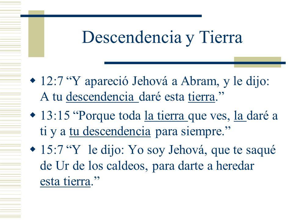 Descendencia y Tierra 12:7 Y apareció Jehová a Abram, y le dijo: A tu descendencia daré esta tierra. 13:15 Porque toda la tierra que ves, la daré a ti