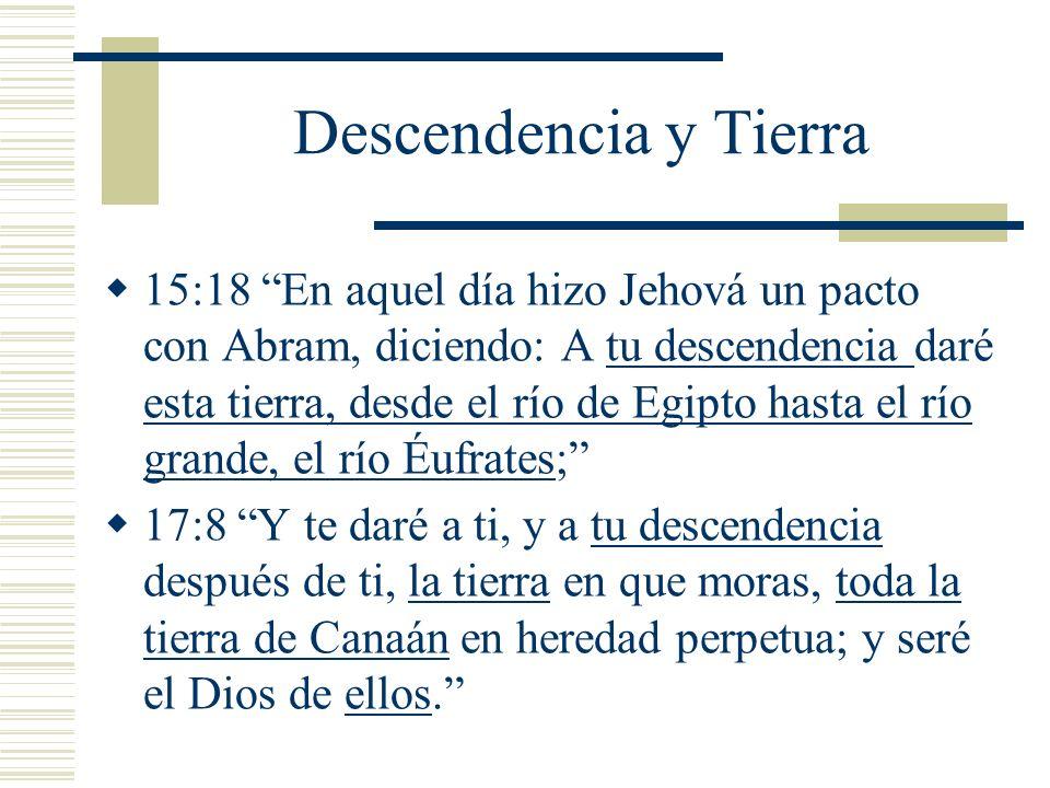 Descendencia y Tierra 15:18 En aquel día hizo Jehová un pacto con Abram, diciendo: A tu descendencia daré esta tierra, desde el río de Egipto hasta el río grande, el río Éufrates; 17:8 Y te daré a ti, y a tu descendencia después de ti, la tierra en que moras, toda la tierra de Canaán en heredad perpetua; y seré el Dios de ellos.