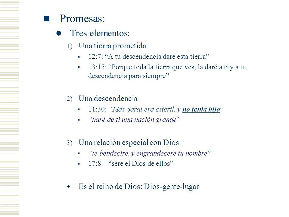 Promesas: Tres elementos: 1) Una tierra prometida 12:7: A tu descendencia daré esta tierra 13:15: Porque toda la tierra que ves, la daré a ti y a tu d