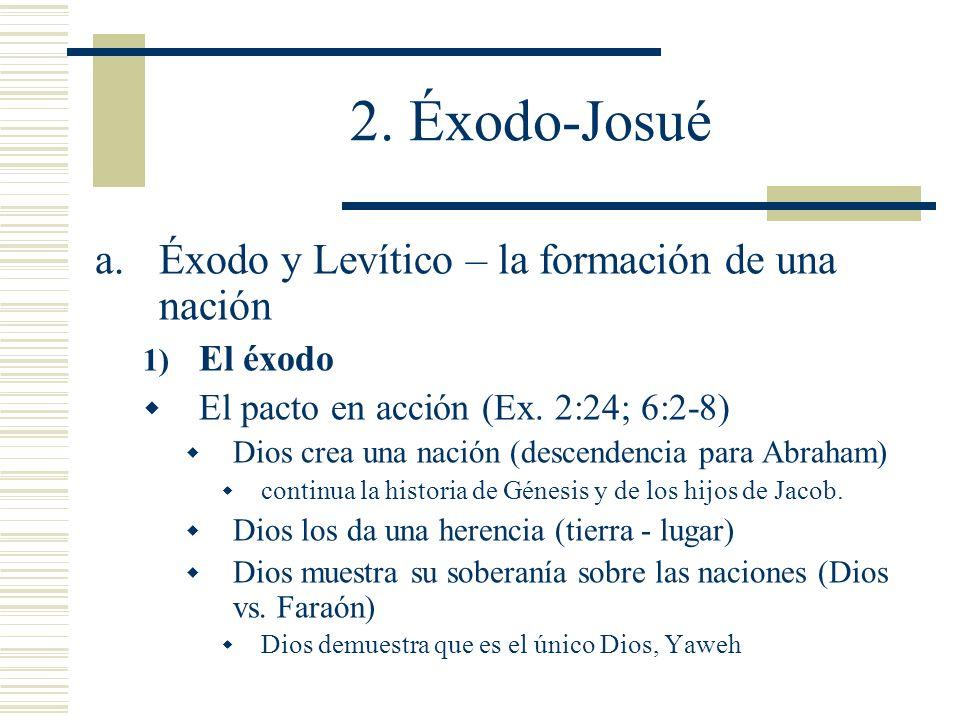 2. Éxodo-Josué a.Éxodo y Levítico – la formación de una nación 1) El éxodo El pacto en acción (Ex. 2:24; 6:2-8) Dios crea una nación (descendencia par