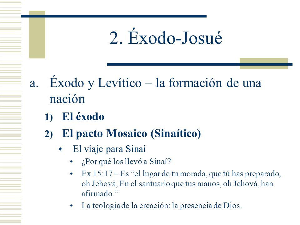 2. Éxodo-Josué a.Éxodo y Levítico – la formación de una nación 1) El éxodo 2) El pacto Mosaico (Sinaítico) El viaje para Sinaí ¿Por qué los llevó a Si
