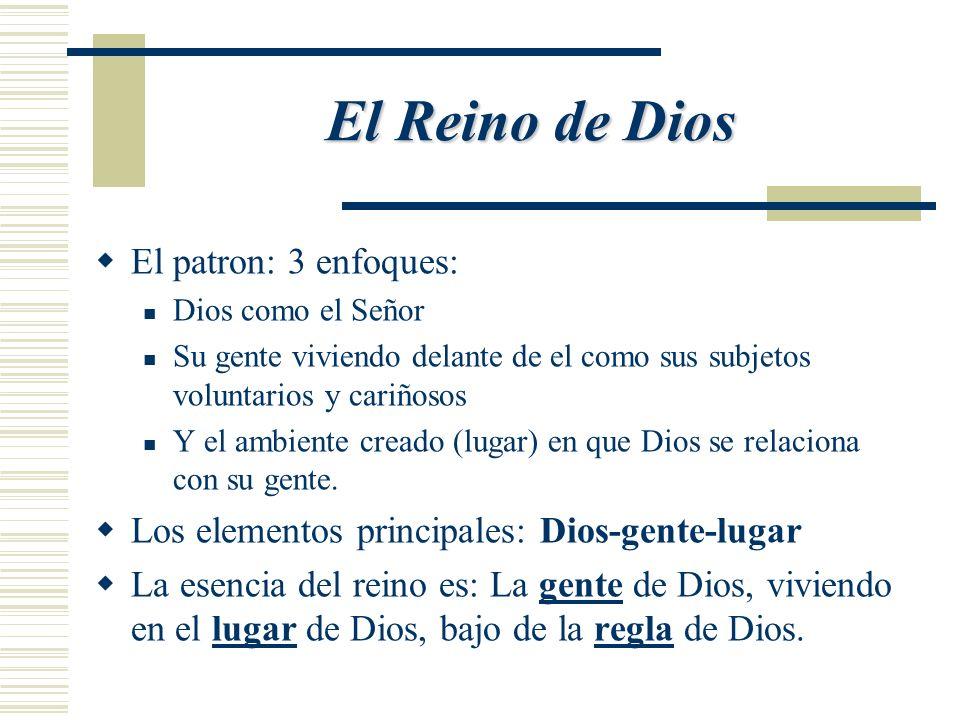 El Reino de Dios El patron: 3 enfoques: Dios como el Señor Su gente viviendo delante de el como sus subjetos voluntarios y cariñosos Y el ambiente creado (lugar) en que Dios se relaciona con su gente.