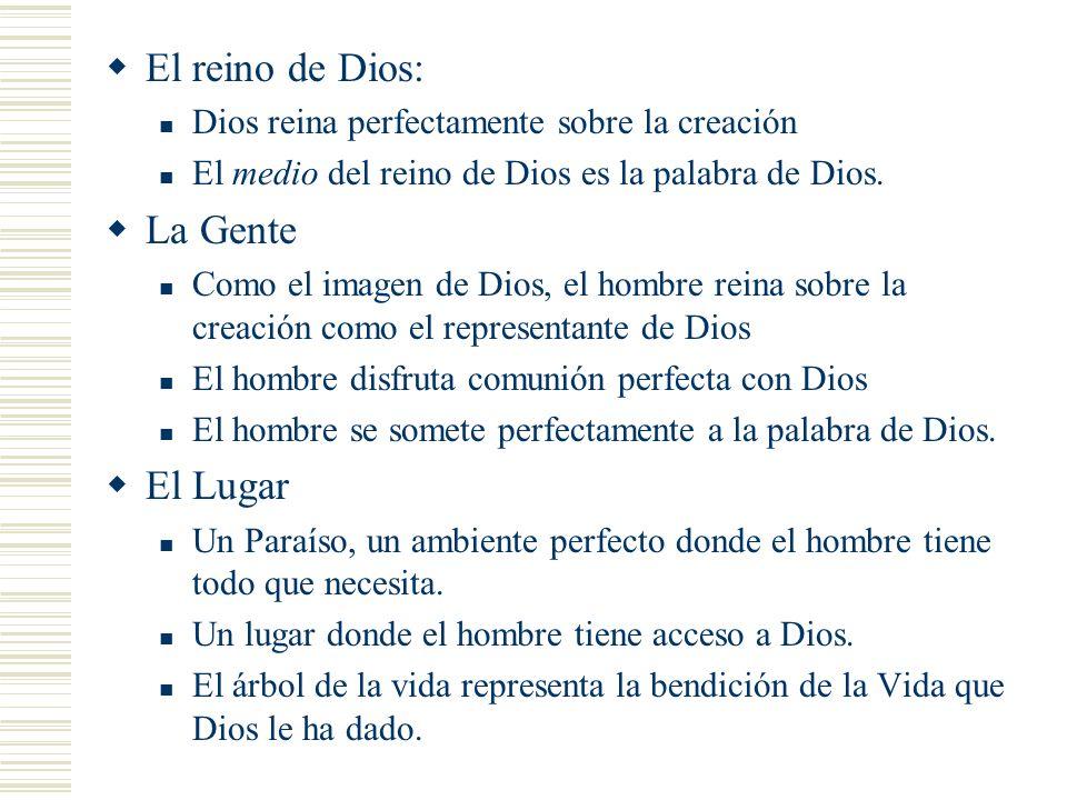 El reino de Dios: Dios reina perfectamente sobre la creación El medio del reino de Dios es la palabra de Dios. La Gente Como el imagen de Dios, el hom