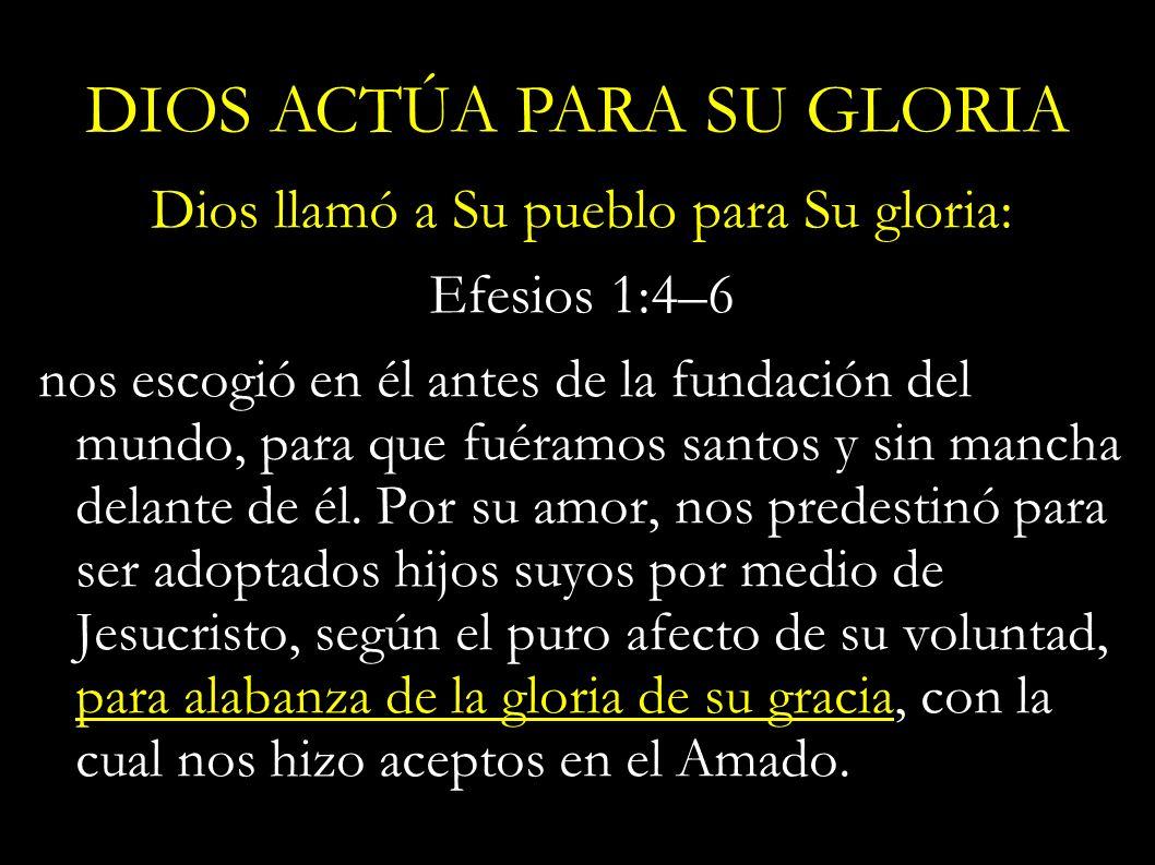 Dios llamó a Su pueblo para Su gloria: Efesios 1:4–6 nos escogió en él antes de la fundación del mundo, para que fuéramos santos y sin mancha delante