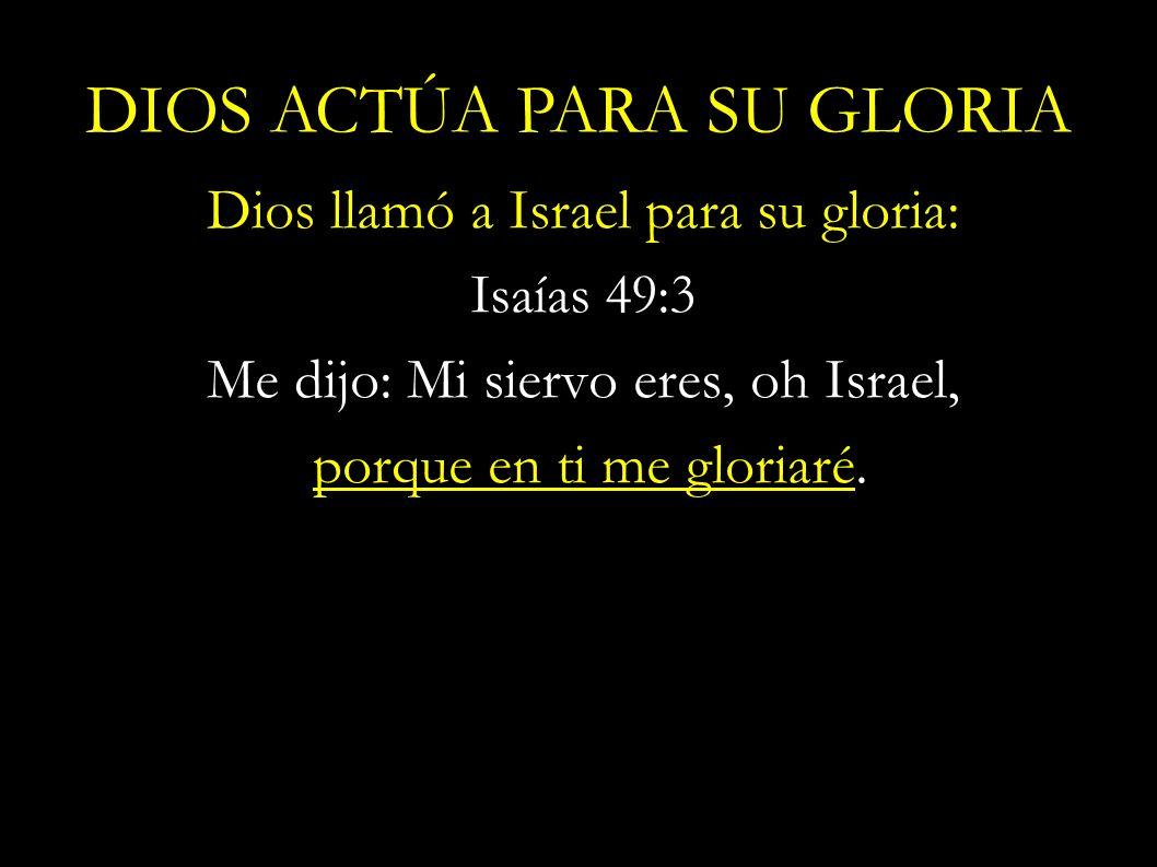 Dios llamó a Israel para su gloria: Isaías 49:3 Me dijo: Mi siervo eres, oh Israel, porque en ti me gloriaré. DIOS ACTÚA PARA SU GLORIA