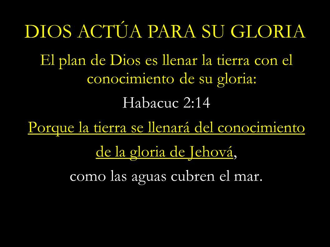 El plan de Dios es llenar la tierra con el conocimiento de su gloria: Habacuc 2:14 Porque la tierra se llenará del conocimiento de la gloria de Jehová