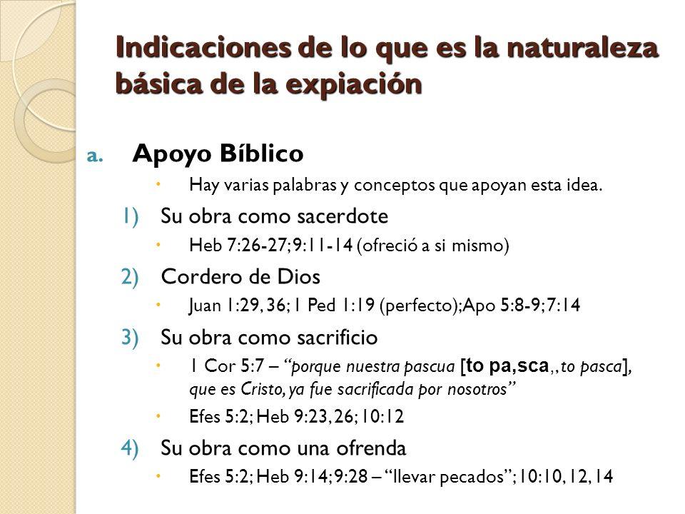 Indicaciones de lo que es la naturaleza básica de la expiación a. Apoyo Bíblico Hay varias palabras y conceptos que apoyan esta idea. 1)Su obra como s