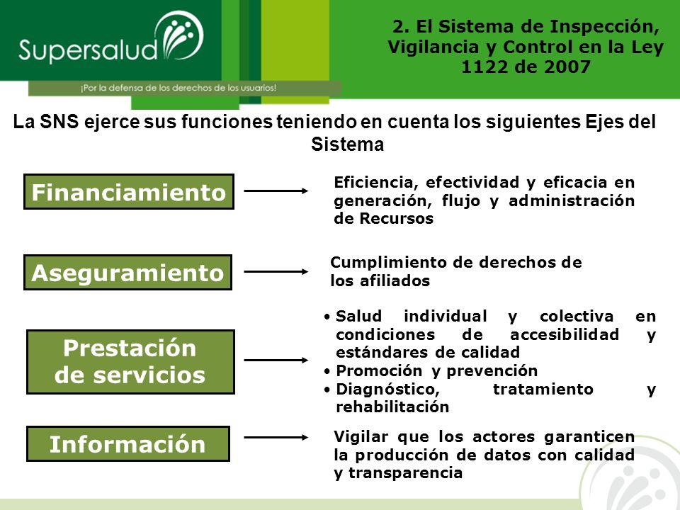 2. El Sistema de Inspección, Vigilancia y Control en la Ley 1122 de 2007 La SNS ejerce sus funciones teniendo en cuenta los siguientes Ejes del Sistem