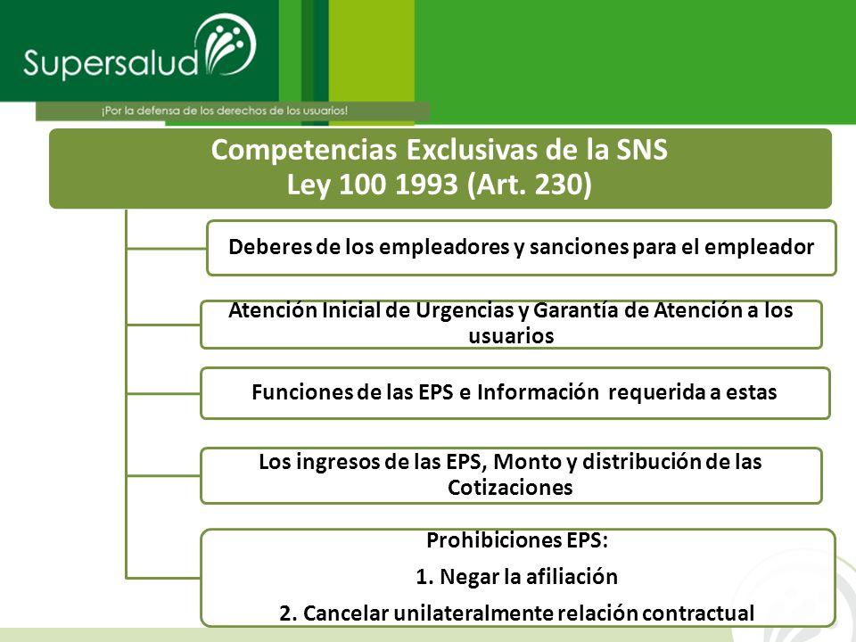 Competencias Exclusivas de la SNS Ley 100 1993 (Art. 230) Deberes de los empleadores y sanciones para el empleador Atención Inicial de Urgencias y Gar
