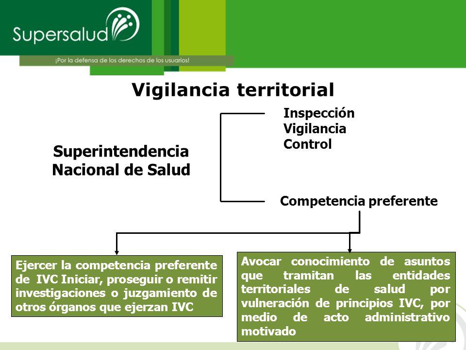 Vigilancia territorial Superintendencia Nacional de Salud Avocar conocimiento de asuntos que tramitan las entidades territoriales de salud por vulnera